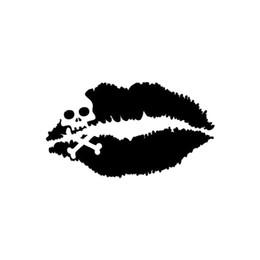 $enCountryForm.capitalKeyWord UK - 15*8.3cm Funny Car Sticker Kiss Of Death Lips Skull Cross Bones Decal Car Motorcycle Bike Truck Decal