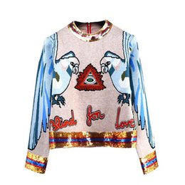 Parrot Sequin Top Women Long Sleeve Sweater Animal Embroidery Back Zipper  Wool Knitted Pullover Ladies Casual Top bd4a04ae8