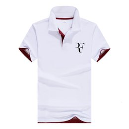 business casual polo 2019 - Business Men Casual polo shirt Roger Federer Brand clothing Male Summer Print polo Shirt Cotton Men Solid Homme jersey d