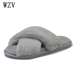 f7e1f3ccfb2c6 2018 Winter Women Home Slippers with Faux Fur Fashion Warm Shoes Woman Slip  on Flats Female Slides Black Pink Plus Size 41 K547