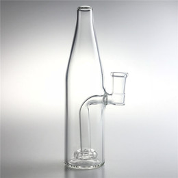 Wholesale 14mm Female Glass Bong Water Bongs with Inch Thick Pyrex Clear Beer Bottle Recycler Heady Beaker Bong for Smoking