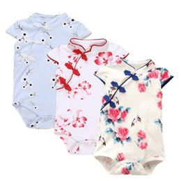 Wholesale Hot Sale Baby Rompers Summer Baby Girl Clothes Chinese Cheongsam Newborn Baby Clothing Roupas Bebe Infant Jumpsuits For