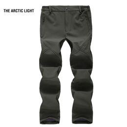 Warm Waterproof Pants Men Australia - THE ARCTIC LIGHT Men Winter Fishing Camping Hiking Skiing Pants Thick Warm Fleece Soft shell Trousers Waterproof Windproof