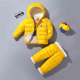 blue cotton coat NZ - BibiCola 2018 winter new boy girls clothing sets children fashion hooded down cotton coats+pants 2pcs sets fit for 1-5Y child