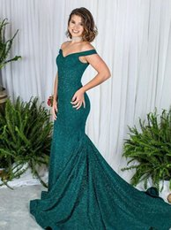 organza mother bride dresses 2019 - Emerald Green Prom Dresses Long 2019 Off the Shoulder Sequin Mermaid Formal Evening Gowns Mother of the Bride Cocktail P