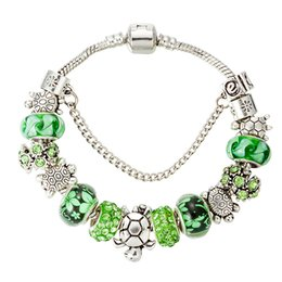 $enCountryForm.capitalKeyWord Canada - 2019 Factory Wholesale Silver love Bracelets bangle green color Chain for woman Charm Bead Bangle Bracelet Jewelry Gift For Men Women gift