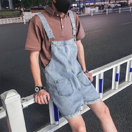 japanese overalls NZ - Japanese Retro Style Suspenders Casual Wild Blue Denim Overalls Fashion Handsome Men's Shorts Bib Jeans