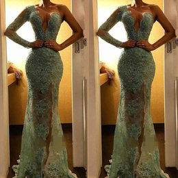 Mint long sleeve lace dress online shopping - 2019 New Illusion Mint Green Lace Mermaid Prom Dresses Sparkle Sequined Beaded Evening Gowns High Side Split One Shoulder Party Dress BC1400