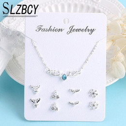 lovers necklace heart jewelry NZ - Luxury Deer Heart Bow Star Moon Pearl Small Stud Earrings Long Chain Crystal Necklaces Women Silver Color Jewelry Set Lover Gift