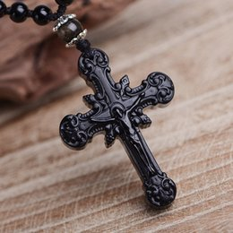 Natural jade cross peNdaNt online shopping - Top Quality Natural Obsidian Stone Pendant Carved Cross Amulet Lucky Pendant Necklace Women Men s Fine Jade Jewelry
