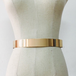 metallic women belts wholesale 2020 - Women Adjustable Metal Waist Belt Metallic Plate Vintage Belts Kids Clothes Accessories Lady Simple Belts Gold Silver Ha