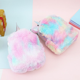 Clothing for sChool online shopping - Rainbow Color Women Designer Bookbag Plush Unicorn Shaped Backpack For Students Outdoor Sports School Bag High Quality sm BB