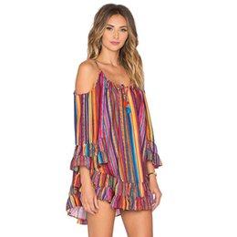 $enCountryForm.capitalKeyWord NZ - 2017 women blouses Summer crop tops Rainbow Print Fringed Beach Loose chiffon blouse Strap super quality blusas femininas #y