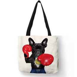 Discount coolest cell phones - Nordic Style Cool Bulldog Terrier Print Women Linen Handbag Fashion Tote Bags For Women Travelling Beach Totes Bag