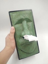 EastEr containEr online shopping - Easter Moai Tissue Box Stone Man Paper Box Tissue Storage Creative Home Decoration Office Desktop Decor Tissue Container MMA1261