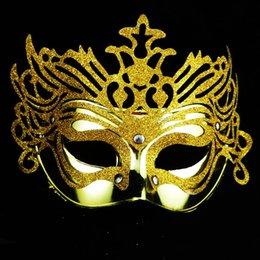 Venta al por mayor de 8 colores Moda mujer Hallowmas Galvanoplastia Corona de oro Veneciana máscara de ojo con enmascarado de polvo de oro máscara de Pascua máscara de fiesta de baile máscara