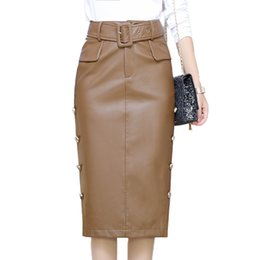 Chinese  Women Faux Leather Skirt Black Pu Skirt Khaki Autumn Winter Side Button Mid Long Straight With Belt 2319LY manufacturers