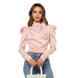black lapel long sleeve blouse Australia - Women Satin Blouses Fashion Bow Neck Long Puff Sleeve Black Elegant Shirt Office Lady Classic Blusas Chemise Femme tops