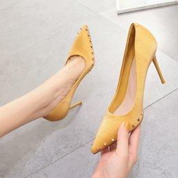 $enCountryForm.capitalKeyWord Australia - Hot2019 High-heeled Rivet Autumn Fine With Sharp Shallow Mouth Women's Shoes Single Shoe Woman Black Ol