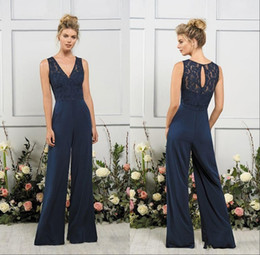 $enCountryForm.capitalKeyWord Australia - Vintage Navy Blue V Neck Mother of the Bride Suits Keyhole Back Design Mother of the Bride Dress Women Pant Suit Formal Wear