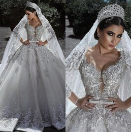 Wholesale plus size long winter skirts resale online - Luxury Arabic Long Sleeves Lace Ball Gown Wedding Dresses Scoop Neck Beaded Floral Appliqued Bow Sash Bridal Gowns Wedding Dresses cph020