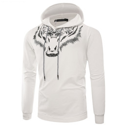 Wholesale men t shirt rib for sale - Group buy High Quality Men Hoodies Animal Pattern Printing Ribbed Long Sleeve T Shirt New Colors Casual Mens Hoodie
