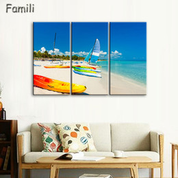$enCountryForm.capitalKeyWord Australia - 3Pcs set Frameless Canvas Painting sailboat Painting for Living Room Wall Art Posters and Prints Modern Pictures Decoration