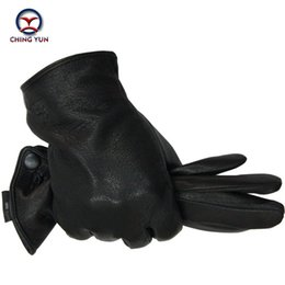 $enCountryForm.capitalKeyWord NZ - Winter Man Deer Skin Leather Gloves Male Warm Soft Men's Arm Sleeve Black Men Mittens Imitate Rabbit Fur 70% Wool Lining-04 T190618