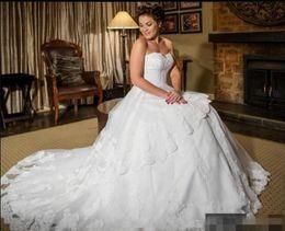 Wedding Dress Sweetheart Open Australia - Elegant Lace wedding dresses Sweetheart Open Back Court Train Tulle Princess Designer Wedding Dress Bridal Gowns Cheap Custom Made