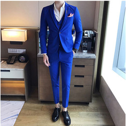 mens light yellow wedding suits Canada - Royal Blue Slim Mens Wedding Suits Groom Tuxedo Casual Best Man Blazer Prom Party 3Piece(Coat Pants Vest)Custom Made Costume Homme Mariage
