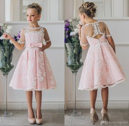 5c96b04021 Royal Wedding Fancy Dress UK - New Fancy Blush Pink Communion Flower Girl  Dress with Lace