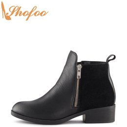 women black booties NZ - Black Patchwork Ankle Boots Med Chunky Heels Round Toe Booties Woman Large Size 14 16 Ladies Winter Fashion Sexy Shoes Shofoo