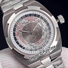 Wholesale best time resale online - Best Edition Overseas World Time V A B129 Steel Case Silver Gray White Dial Cal Automatic Mens Watch Watches For Puretime E05c3