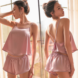 pink vs clothes NZ - Yhotmeng Summer Tops For Women Pure Color Silk Pajamas Sexy Clothes Vs Shorts Two Piece Pajama Set Satin Cross Strap Pijama Y19071901
