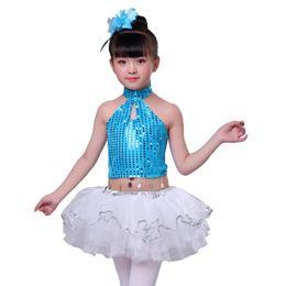 Jazz Dance Suit Australia - New Year's Day Children's Costume Kindergarten Small Dance Performance Suit Belly Pocket Female Sequins Latina Jazz Fluffy Skirt
