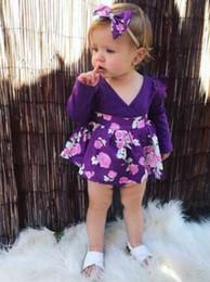 $enCountryForm.capitalKeyWord Australia - Girl Floral Clothing Purple Long Sleeve Jumpsuits + headband 2pcs Girls Clothes Infant V-neck dress Toddler Romper