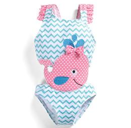 Chinese  Baby Girls Swimwear Shark Whale Wavy One piece Swimsuit Kids Clothing Summer Bathing Suit Outfits Swimwear KKA6662 manufacturers