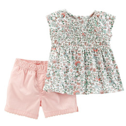 Wholesale girl's t shirts online – design baby girl designer clothes Kids sets Cotton summer girl s set sleeveless Full FLower Rainbow T shirt Short kids clothing sets