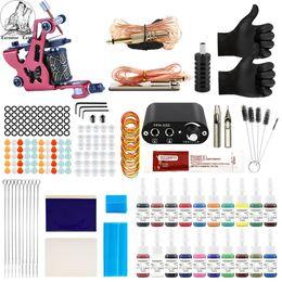 Venta al por mayor de Kit de tatuaje 20 colores Tintas 8 bobinas del abrigo de Máquinas Agujas Grips la fuente de alimentación del tatuaje kit para el principiante Set de accesorios