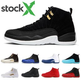 french print fabric NZ - 12s Basketball shoes for mens Game Royal red triple black French blue Reverse Taxi the master CNY men 12 Sports Sneakers size 7-13