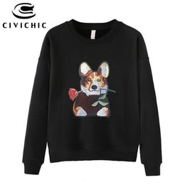 floral sweatshirts 2019 - CIVICHIC Trendy Women Dog Embroidery Pullovers Spring Autumn Winter Cotton Sweatshirt Floral Rose Patch Loose Hoodie Shi