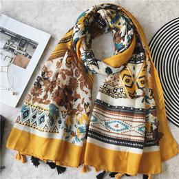 spain scarfs 2019 - 2018 Women's Fashion Scarf African Floral Viscose Shawl Spain Luxury Brand Foulard Sjaal Bufandas Mujer Muslim Hija