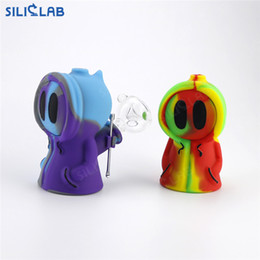 $enCountryForm.capitalKeyWord Australia - SILICLAB Ghost Bubbler Hand Size Mini Silicone Bongs 4.7 Inch Dab Rig with 56mm Dabber and Wax Jars Portable Smoking Water Pipe