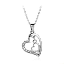 double heart love pendant NZ - Hot Sale Women Luxury Love Crystal Necklaces Mother Valentine's Day Wedding Jewelry Double Heart Pendant Necklace For Mom