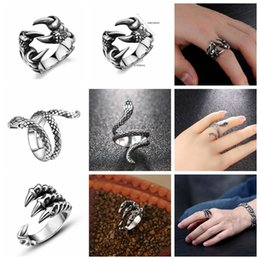 stainless steel tiger ring Canada - Free Fan Gothic Punk Vintage Dragon Men Ring Jewelry For Women Snake Tiger Skull Steampunk Stainless Steel Rings Male