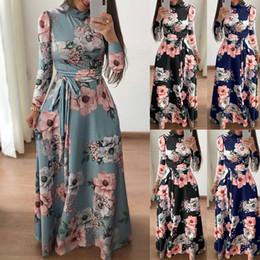 Womens floral maxi dress manga longa evening party summer beach vestidos longos impresso boho sundress nova moda streetwear s19713 venda por atacado