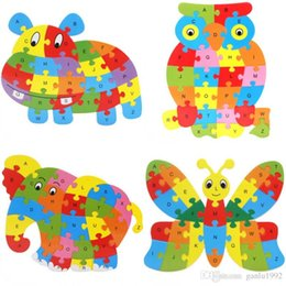 Wood Animal Figured Toys UK - Cute Animal Alphabet Jigsaw For Children Wooden Puzzle Toy Gift Many Styles Hot Sale 3dd C R