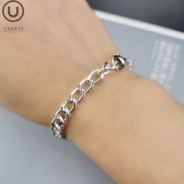 wholesale adjustable silver snake chains Canada - UKEBAY New Silver Color Charm Bangles Adjustable Chain Women Love Bracelet Birthday Gift 22cm Fashion Jewelry Bracelets Charms