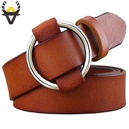 wide red leather belt UK - Fashion Round Ring Buckle Belt Woman 2018 Genuine Leather Belts Women Quality Second Layer Cowskin Strap For Jeans Or Dress C19041101