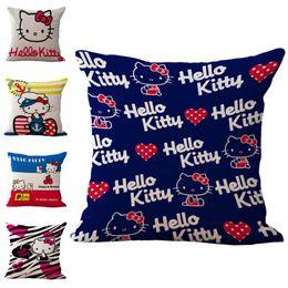 Discount kitty bedding - Cartoon Hello Kitty Pillow Case Cushion cover Linen Cotton Throw Pillowcases sofa Bed Pillowcover DROP SHIP 240504